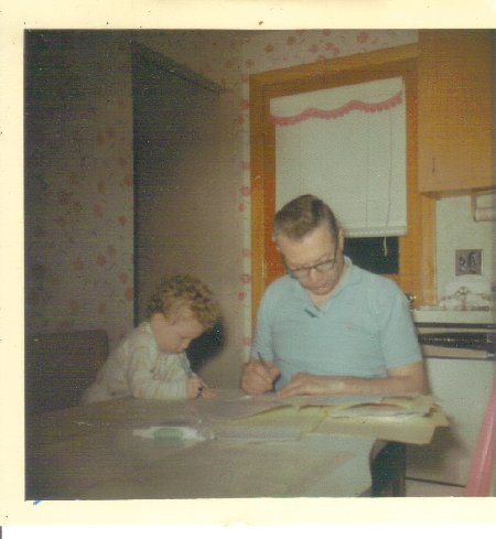 Dad, drawing, shadowing