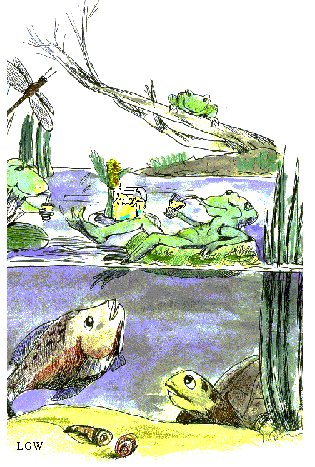 Froggies, frogs, children illustration