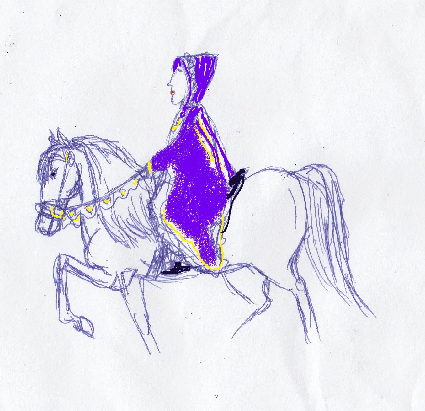 queen, royalty. purple, horse