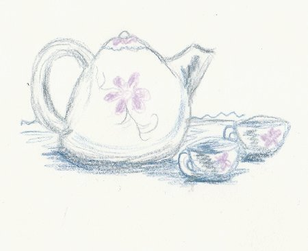 Tea, drink, Kettle, tea cups set