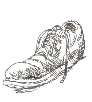 shoe, sneaker, pen and ink