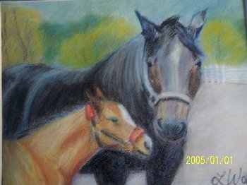 horse, mare and foal,equine, art, pastel