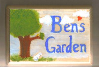 ben's memorial garden sign