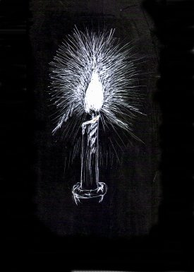 candle light,  scratch board