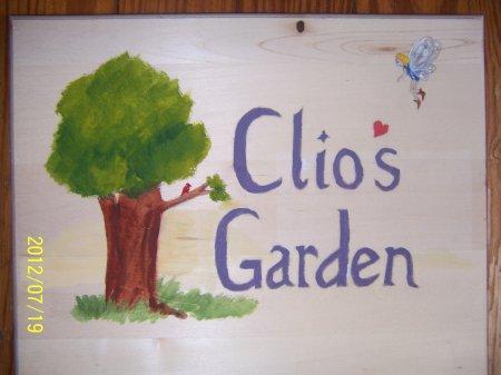 clio's garden memorial sign